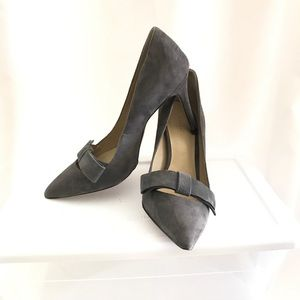 Ann Taylor Shoes - Ann Taylor grey suede Odette pumps with bow - 6